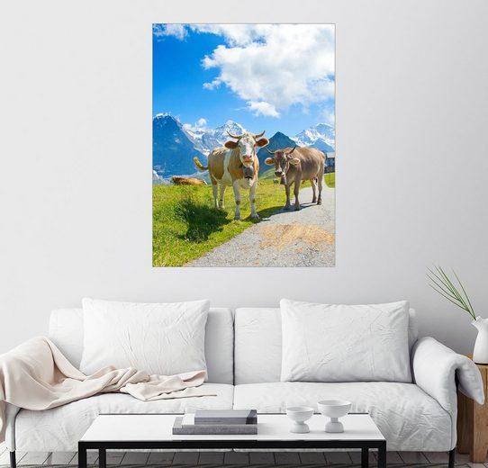 Posterlounge Wandbild, Premium-Poster Kühe auf der Alm