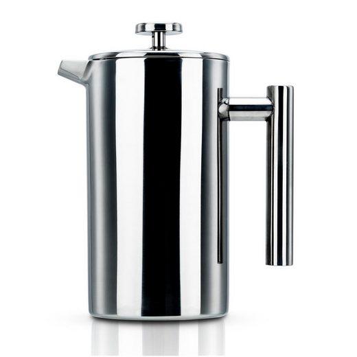 Intirilife Kaffeekanne »Intirilife Kaffeekanne in SILBER – 1l Kaffeebereiter nach französischem Pressensystem aus Edelstahl«, Kaffeekanne – 1l Kaffeebereiter
