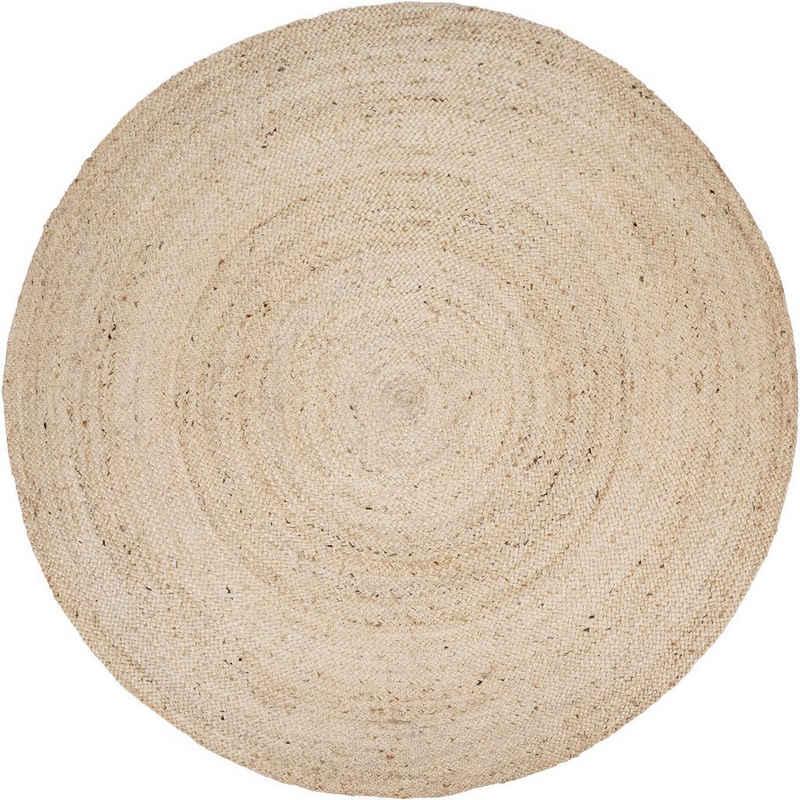 Teppich »Viborg 595«, Paco Home, rund, Höhe 9 mm, 100% Naturfaser, handgearbeitet, Boho-Style, Wohnzimmer