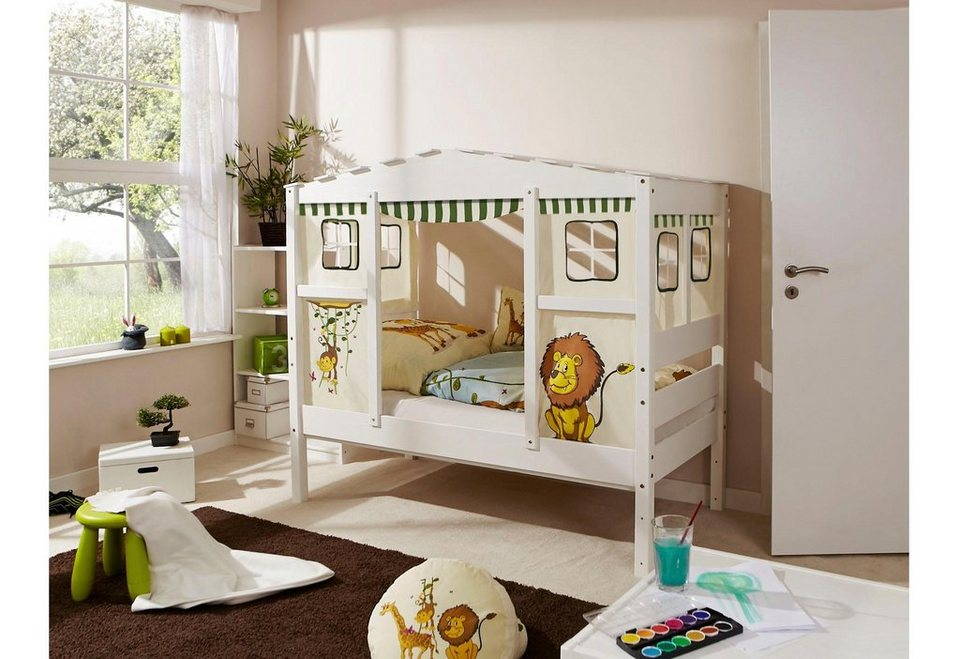 ticaa kinderbett in hausoptik lio aus massiver kiefer. Black Bedroom Furniture Sets. Home Design Ideas