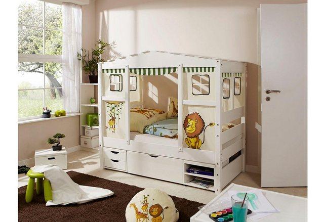 Ticaa Kinderbett in Hausoptik Lio aus massiver Kiefer Liegefläche 80×160 cm bunt,mehrfarbig | 04251105929048