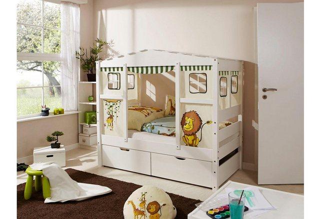 Ticaa Kinderbett in Hausoptik Lio aus massiver Kiefer Liegefläche 80×160 cm bunt,mehrfarbig | 04251105929055
