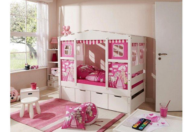 Ticaa Kinderbett in Hausoptik Lio aus massiver Kiefer Liegefläche 80×160 cm rosa | 04251105929086