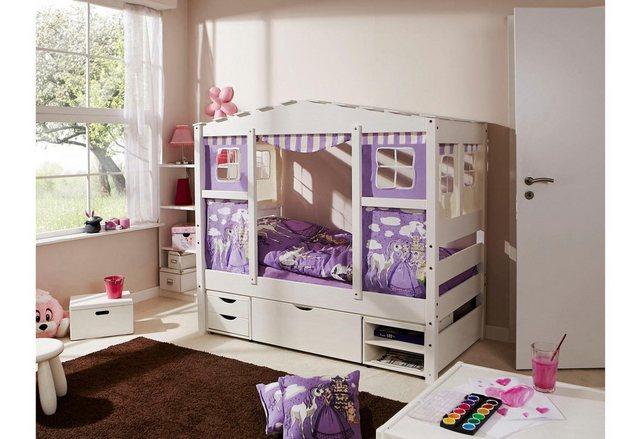 Ticaa Kinderbett in Hausoptik »Lio« aus massiver Kiefer, Liegefläche 80x160 cm | Kinderzimmer > Kinderbetten > Kinderbetten | Ticaa
