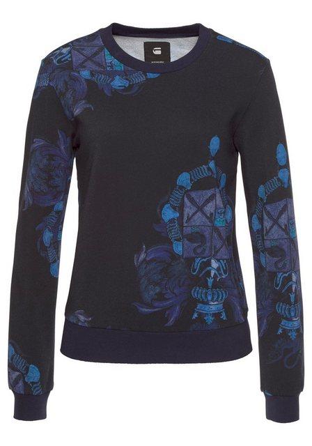 Damen G-Star RAW Sweatshirt Graphic shield 2 xzula r sw mit Alloverdruck schwarz | 08719764531720