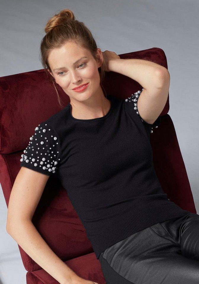 Damen GUIDO MARIA KRETSCHMER Kurzarmpullover mit opulentem Perlenbesatz schwarz  Damen-Pullover