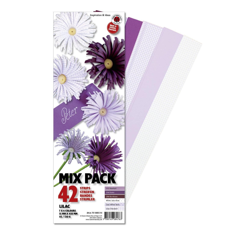 """Karen Marie Klip Papierstreifen-Set """"Mix Pack Lilac"""" 42 Streifen in 6 Farben"""