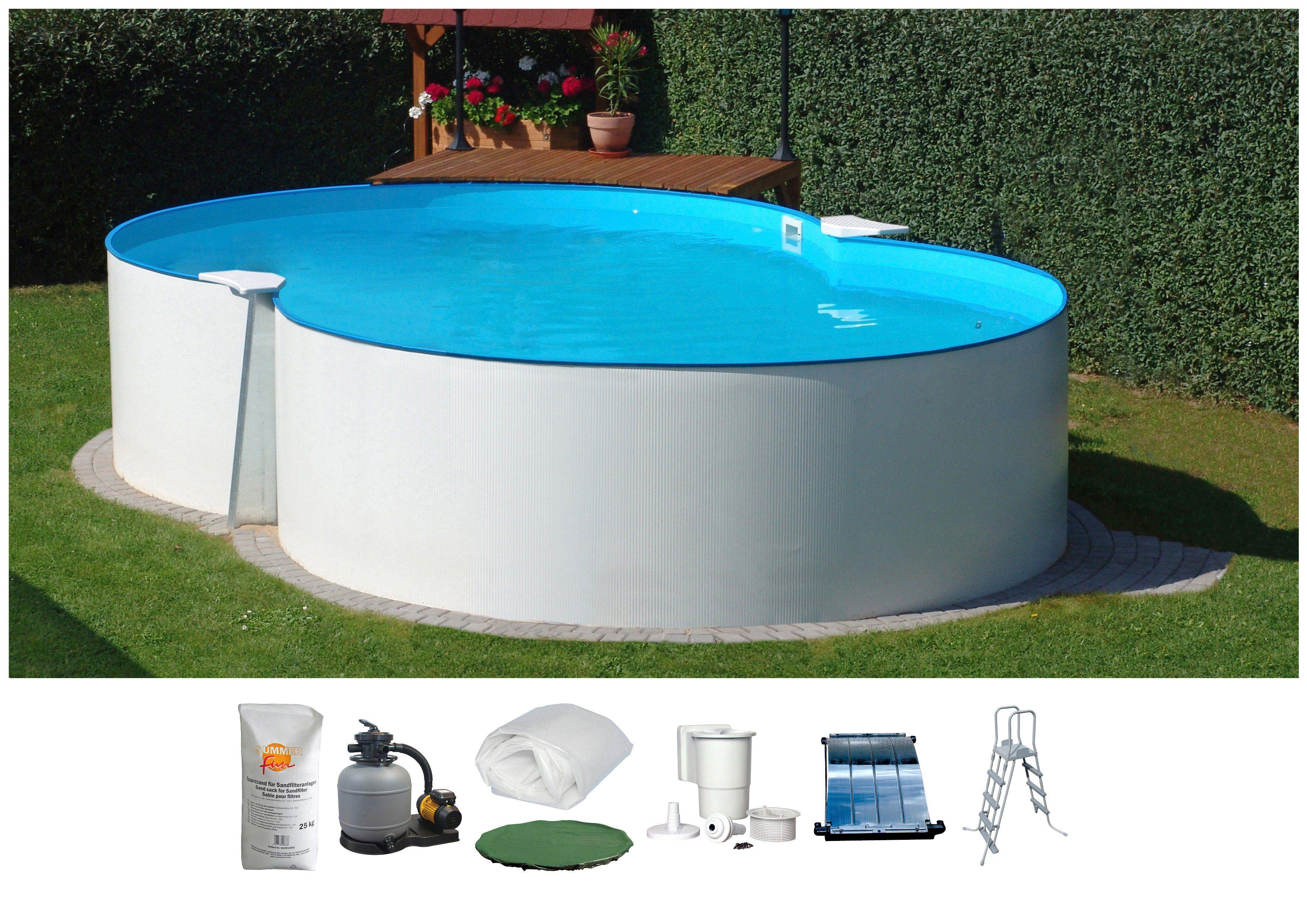 SUMMER FUN Set: Achtformpool , 8-tlg., BxLxH: 420x650x120 cm, weiß