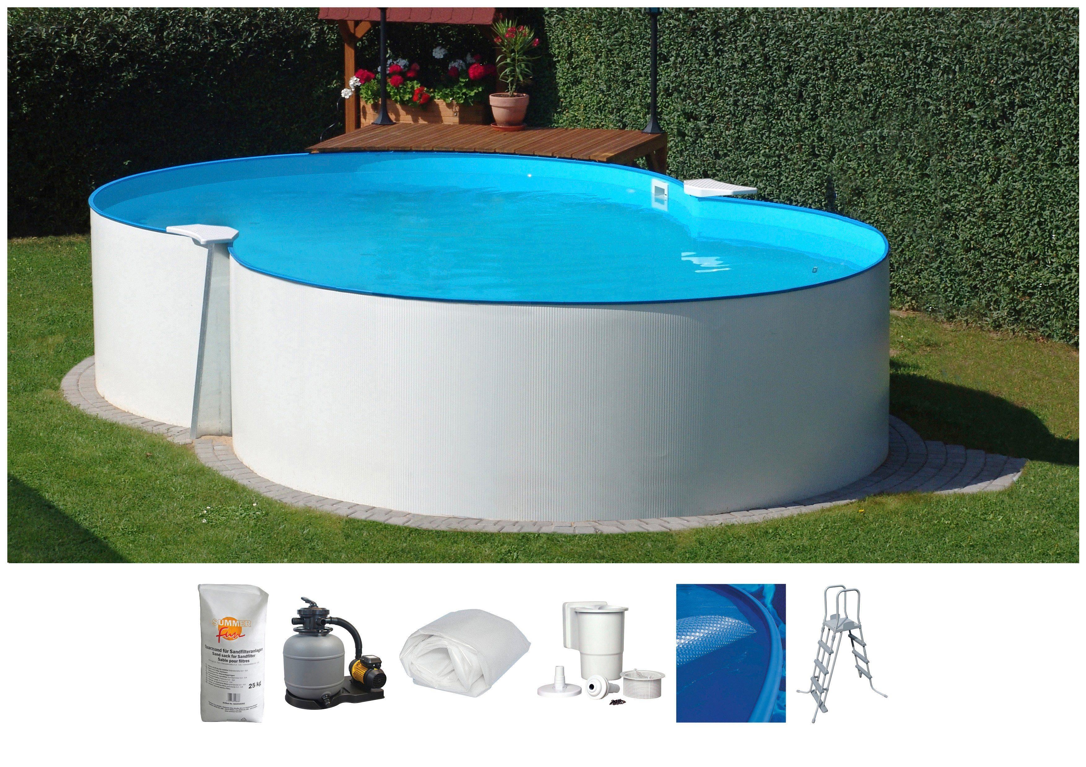SUMMER FUN Set: Achtformpool , 7-tlg., BxLxH: 300x470x120 cm, weiß