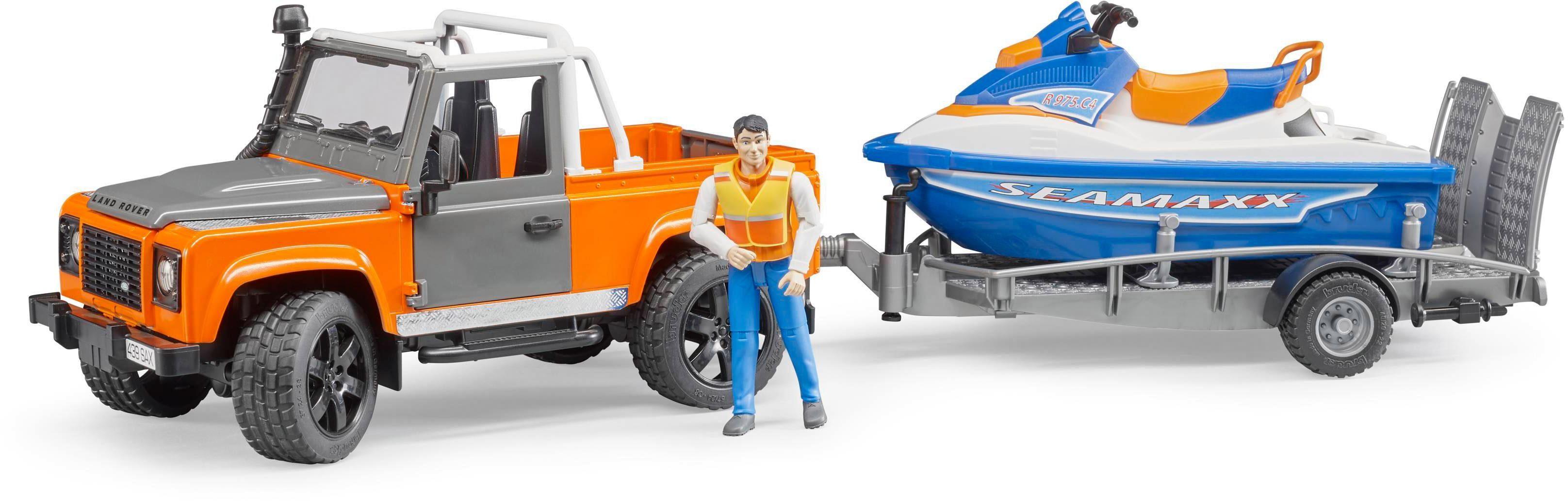 bruder® Spielfahrzeug mit Anhänger und Boot 02599, »Land Rover Defender Station Wagon mit Anhänger, Personal Watercraft«