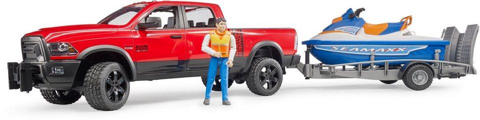 Bruder® Spielfahrzeug mit Anhänger und Stiefel 02503,  RAM 2500 Power Wagon mit Anhänger, Personal Water Craft und Fahrer  online kaufen