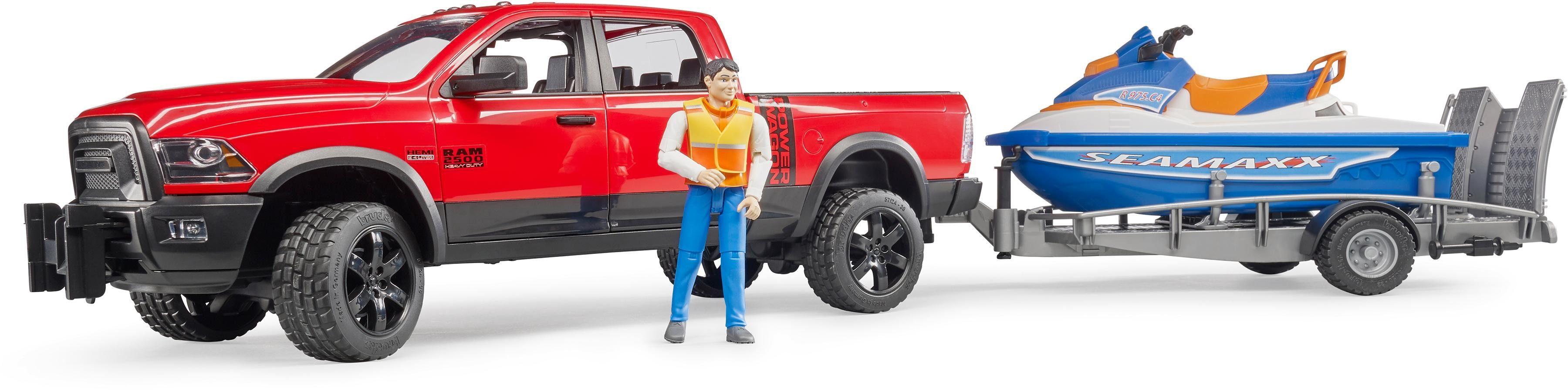 bruder® Spielfahrzeug mit Anhänger und Boot 02503, »RAM 2500 Power Wagon mit Anhänger, Personal Water Craft und Fahrer«