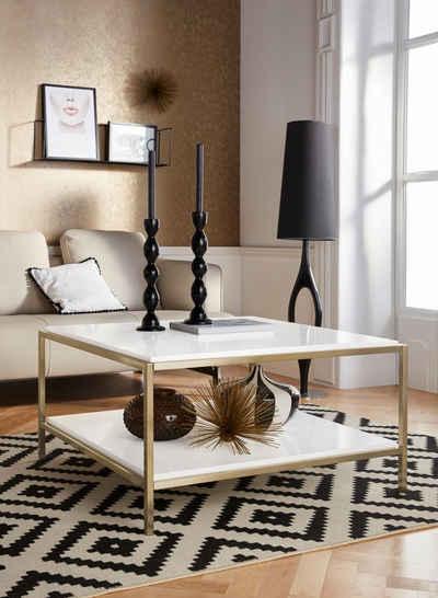 Leonique Couchtisch »Cherlen«, mit zwei Ablageflächen und goldfarbenem Gestell, quadratisch