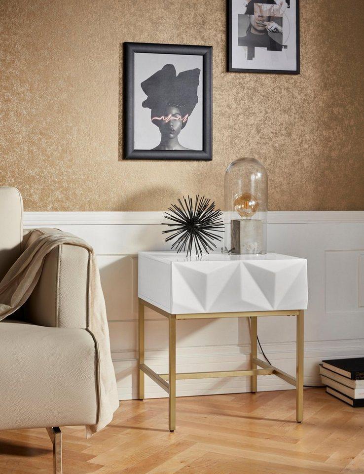 leonique beistelltisch minfi mit einer schublade und sch ner schubladenfront breite 50 cm. Black Bedroom Furniture Sets. Home Design Ideas