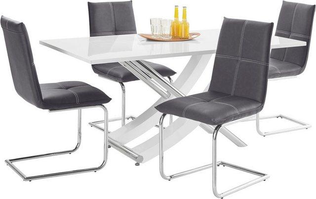 Essgruppen - Essgruppe »Kaleo Claire«, (Set, 5 tlg), mit 4 Stühlen und 1 Tisch weiß Hochglanz  - Onlineshop OTTO