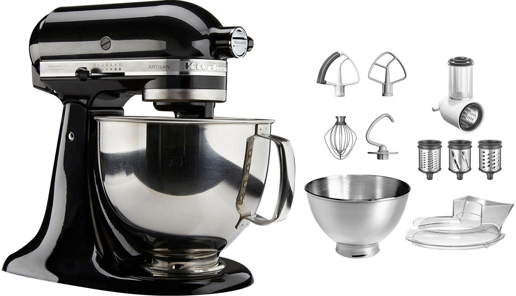 KitchenAid Küchenmaschine Artisan 5KSM175PSEOB mit Gratis Gemüseschneider und 3 Trommeln, 300 W, 4,8 l Schüssel