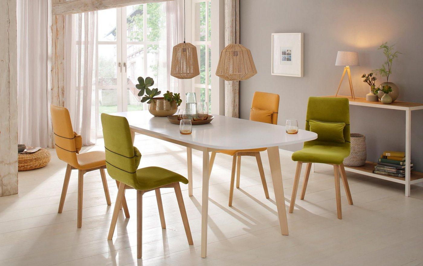 Home affaire Esstisch »Naiss« mit Auszugsfunktion und schönen Tischbeinen aus pflegeleichtem Echtholzfunier - Home affaire