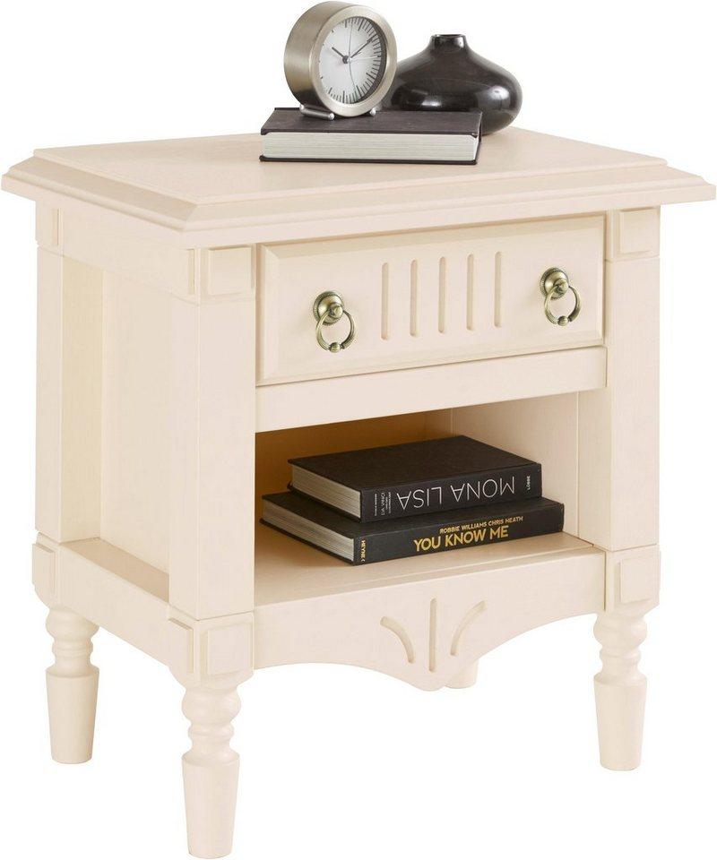 Leonique Nachttisch »Jolly« aus massiver Kiefer, 60 cm breit | Schlafzimmer > Nachttische | Metall - Massivholz - Stoff | Leonique