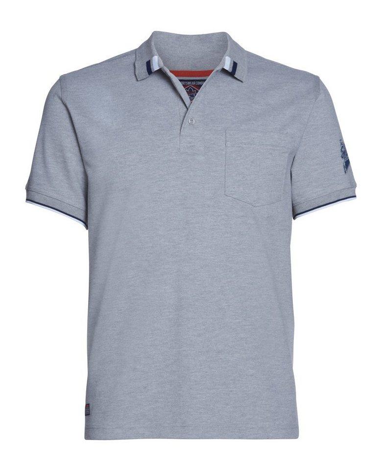 AHORN SPORTSWEAR Poloshirt mit coolem Ärmelprint | Sportbekleidung > Sportshirts > Poloshirts | Grau | Polyester | AHORN SPORTSWEAR