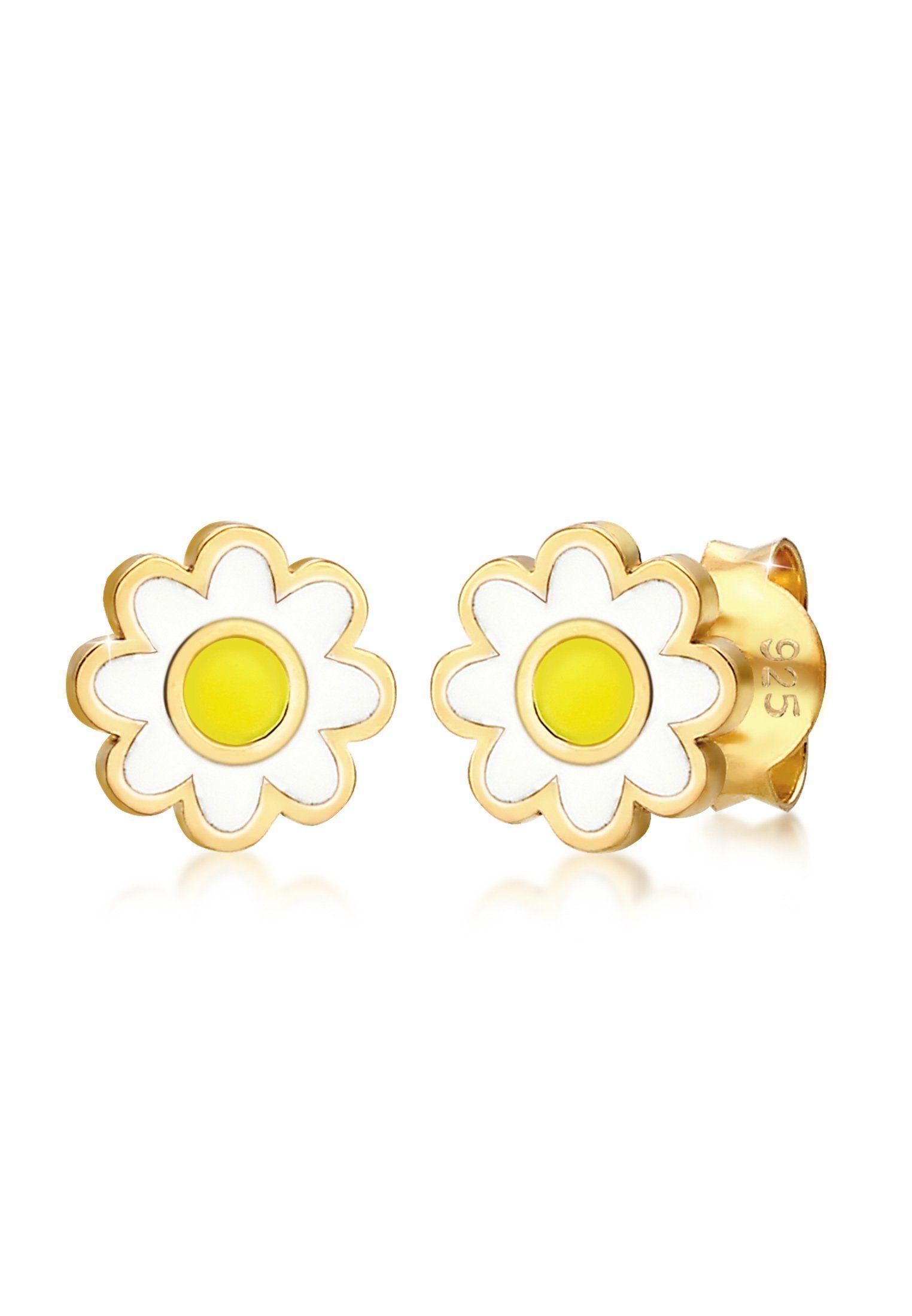 Elli Paar Ohrstecker »Kinder Blume Gänseblümchen Emaille 925er Silber«