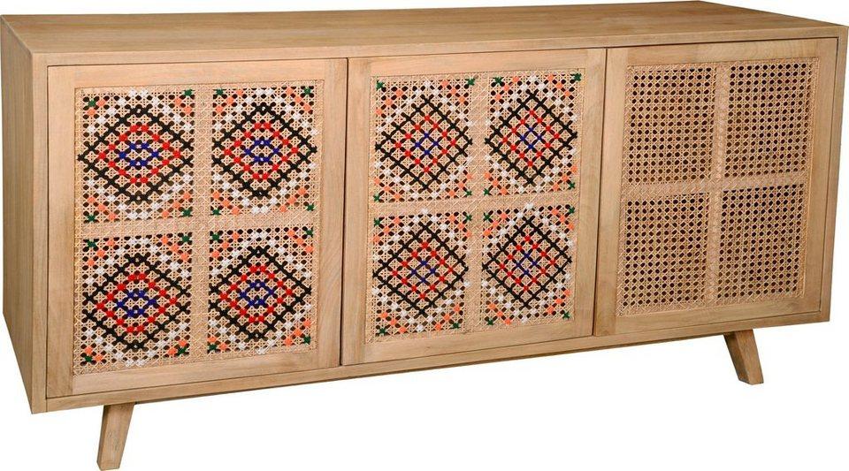 The Wood Times Sideboard »Korba«, Fronten Korbgeflecht mit farbigen ...