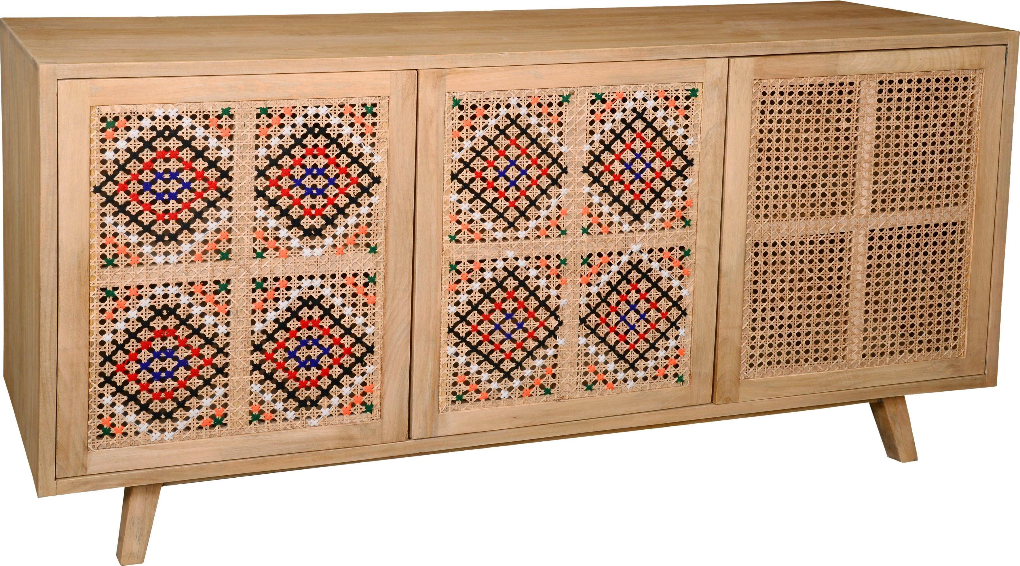 The Wood Times Sideboard »Korba«, Fronten Korbgeflecht mit farbigen Bändern dekoriert