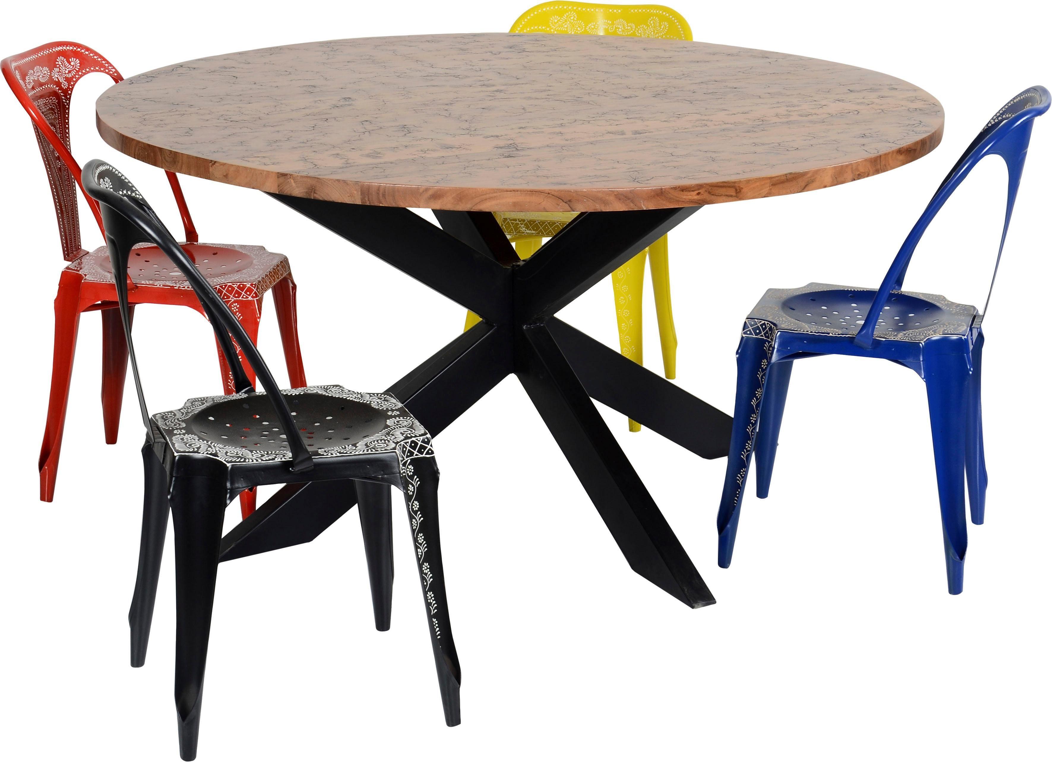 The Wood Times Runder Esstisch »Timber«, Tischplatte mit eingearbeiteten Verästelungen