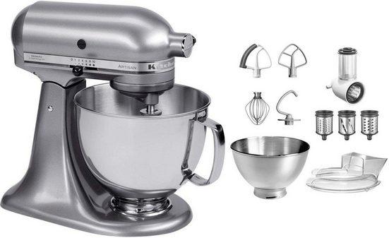 KitchenAid Küchenmaschine Artisan 5KSM175PSECU mit Gratis Gemüseschneider und 3 Trommeln, 300 W, 4,8 l Schüssel
