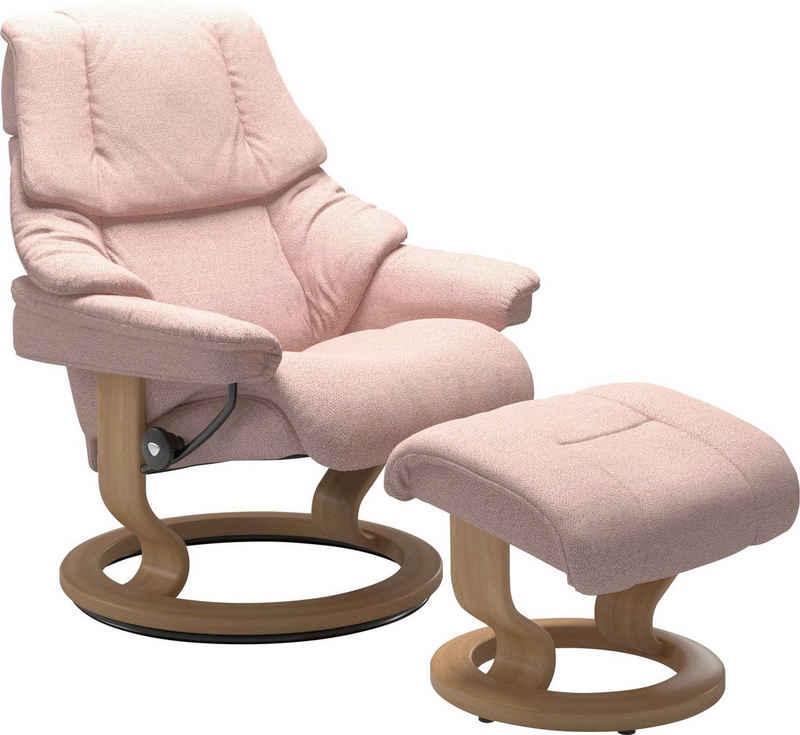 Stressless® Relaxsessel »Reno« (Set, Relaxsessel mit Hocker), mit Hocker, mit Classic Base, Größe S, M & L, Gestell Eiche