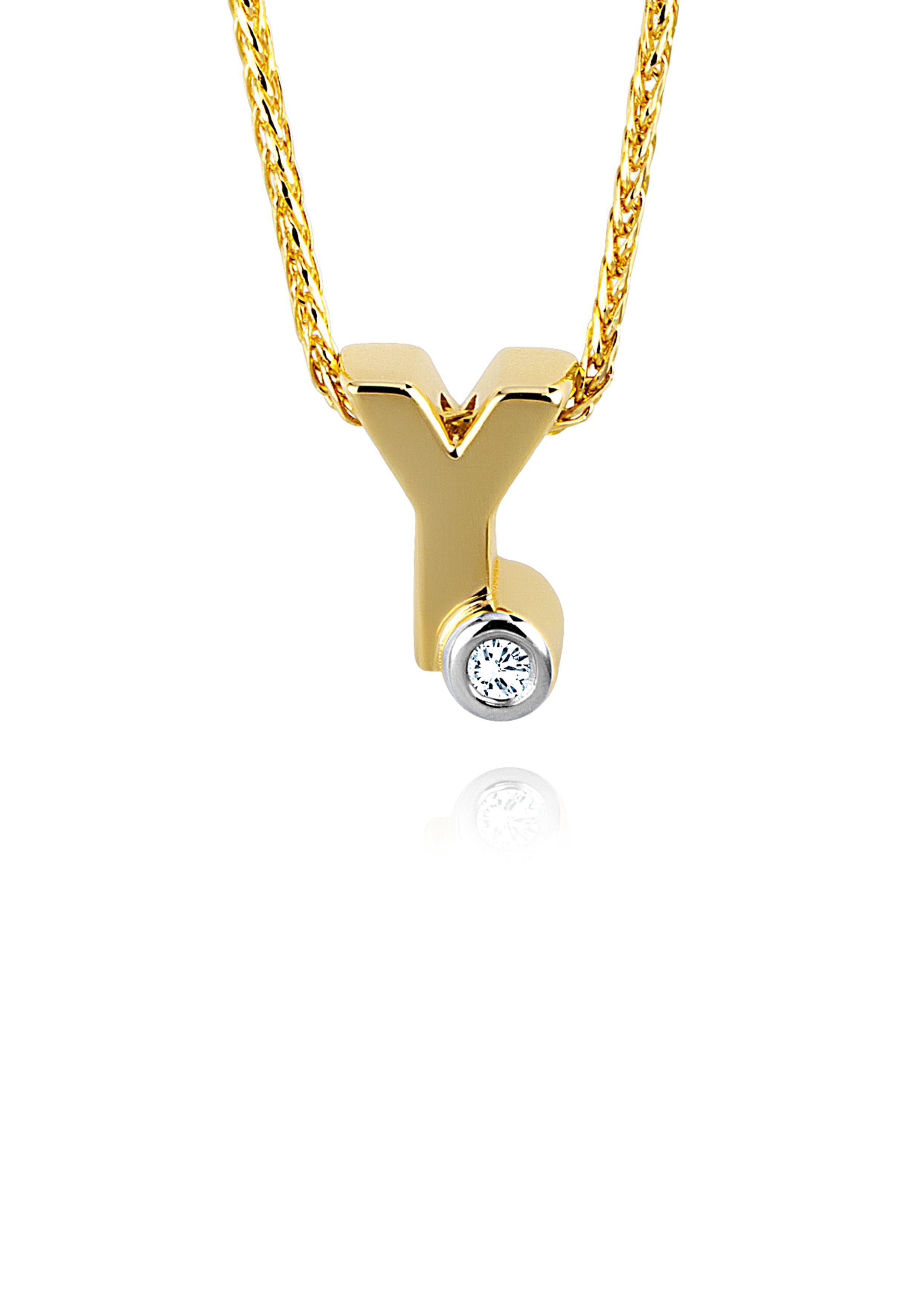 Diamond Line Goldkette mit Buchstabem Y und Diamantbesatz