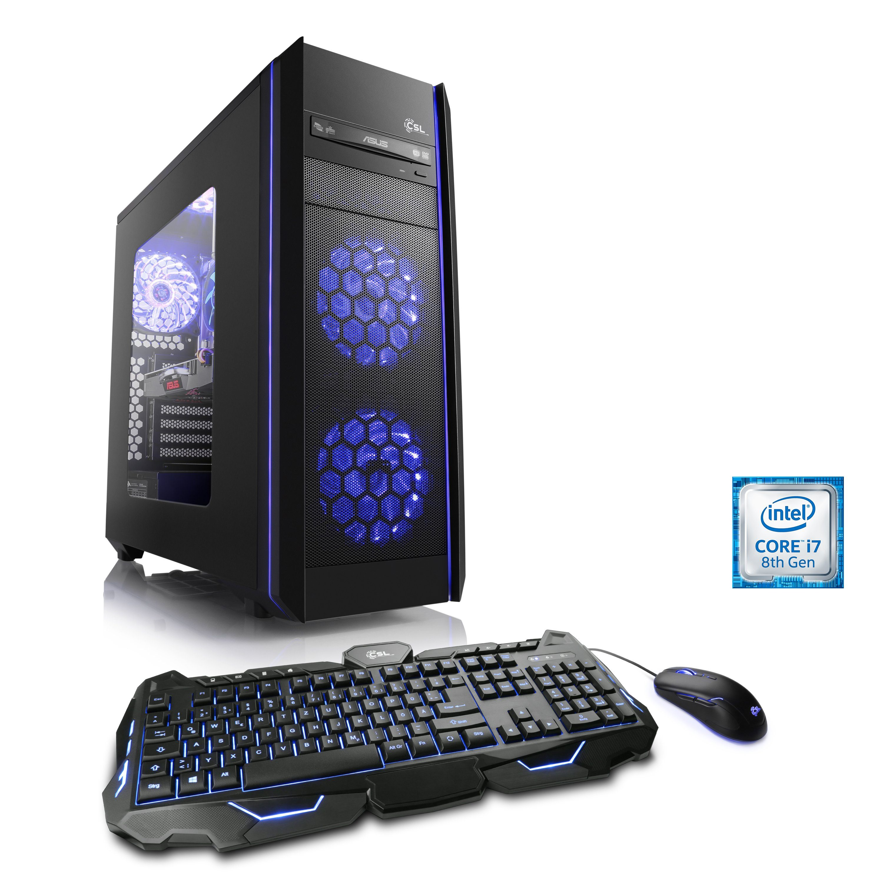CSL Extreme Gaming PC | Core i7-8700 | GTX 1080 | 32GB DDR4| SSD »Speed T9364 Windows 10 Home«