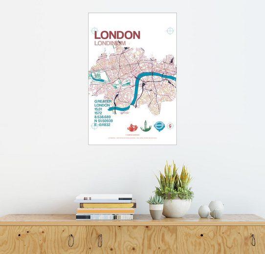 Posterlounge Wandbild - campus graphics »London Stadtmotiv Karte«