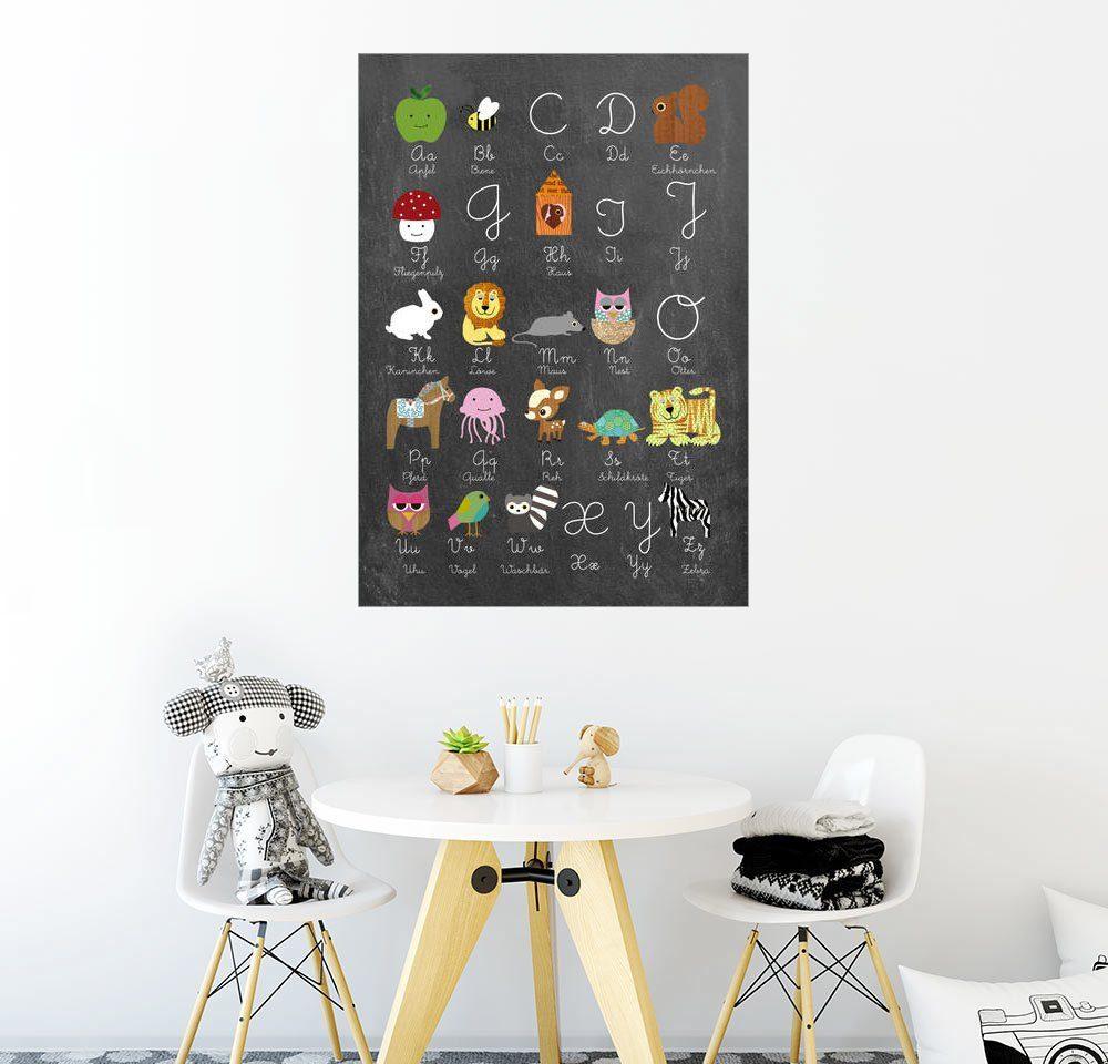 Posterlounge Wandbild - GreenNest »Abc lernen mit Tieren auf Tafelhintergrund«