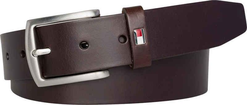 Tommy Hilfiger Ledergürtel »NEW DENTON 3.5 BELT« Robuster Ledergürtel mit Flag-Label