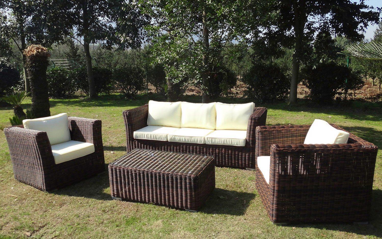 BAIDANI Loungeset »Funky«, 14 Tlg., 3er Sofa, 2 Sessel, Tisch 100x58x40 Cm,  Polyrattan