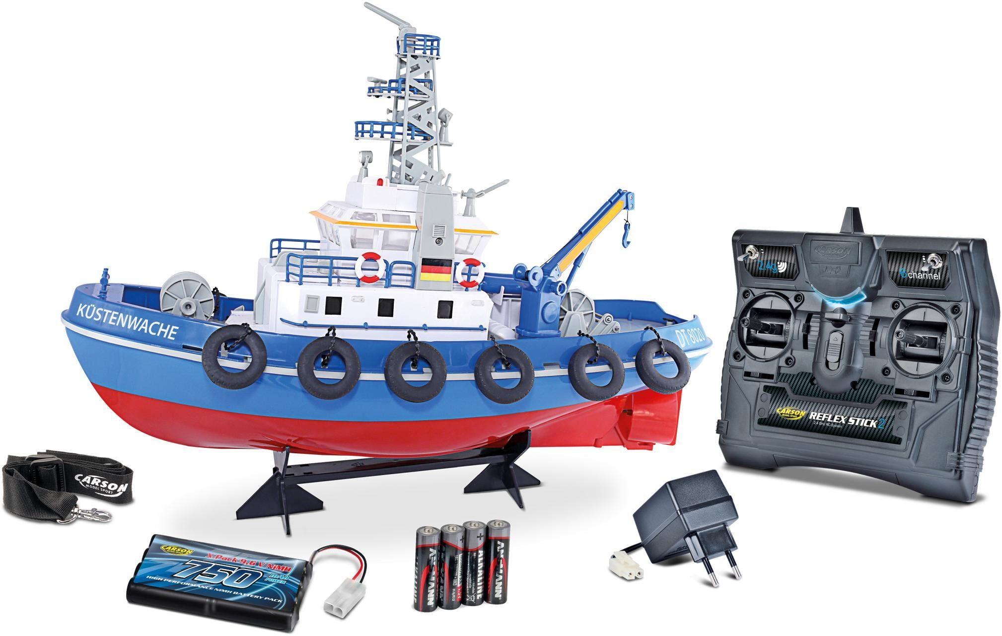 Carson RC-Komplettset, Boot mit Wasserkanone, Licht und Sound, »Küstenwache, 1:50, RTR«