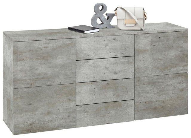 Sideboard »Rova«, Breite 139 cm   Wohnzimmer > Schränke   Blau - Mint - Schiefer   Beton - Melamin   borchardt Möbel