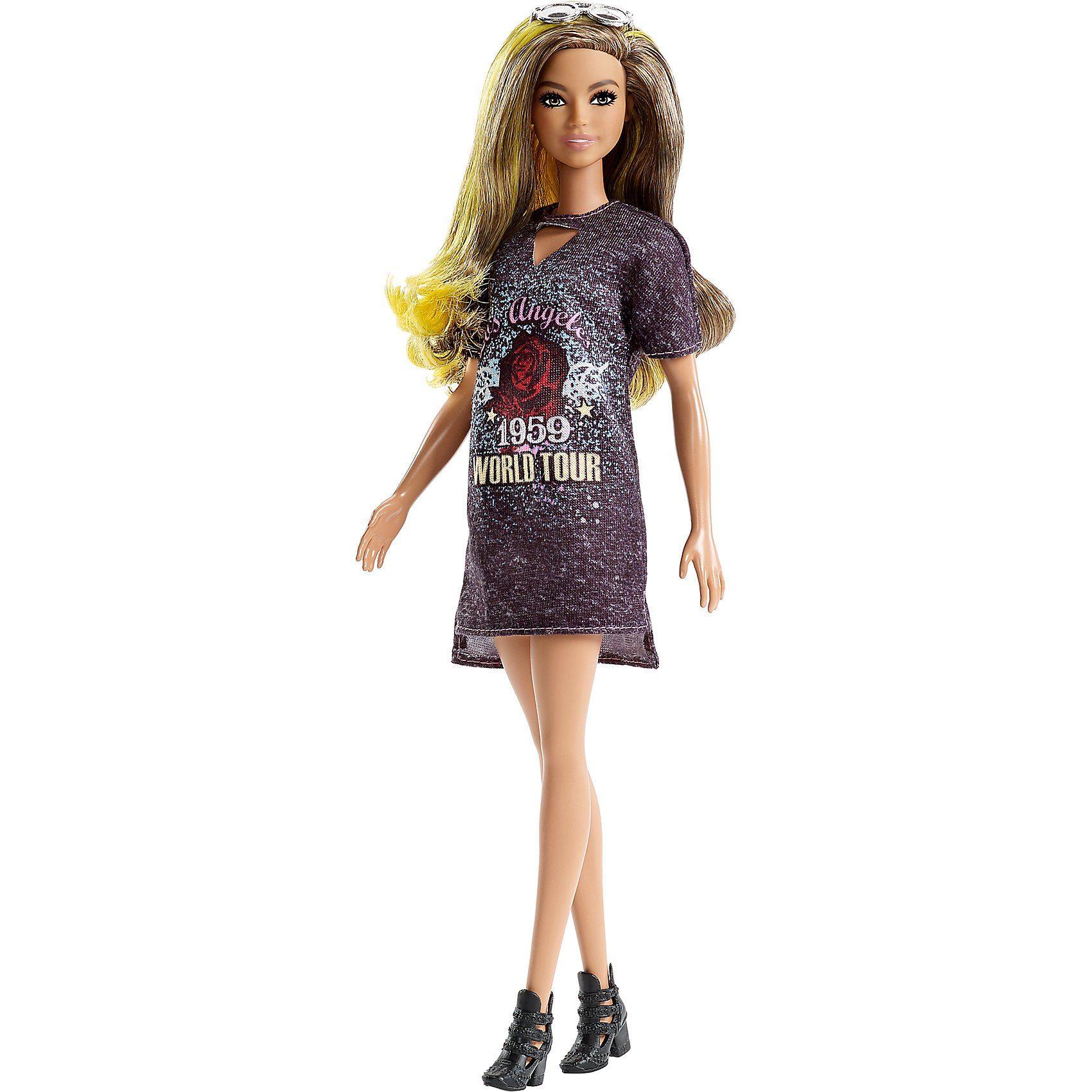 Mattel® Barbie Fashionistas Puppe mit gelben Strähnchen und Printkle