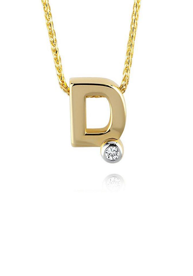 diamond line goldkette mit buchstabem d und diamantbesatz. Black Bedroom Furniture Sets. Home Design Ideas
