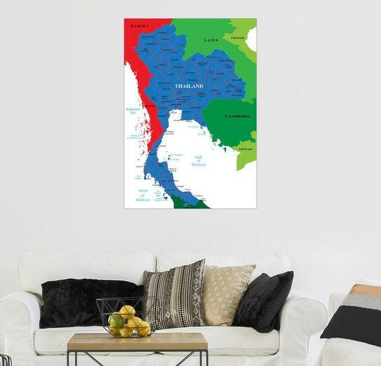 Posterlounge Wandbild »Thailand - Politische Karte«