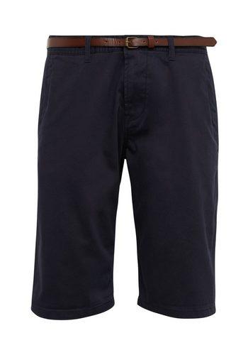 Herren Tom Tailor Chinohose Shorts mit Gürtel blau | 04062105112572