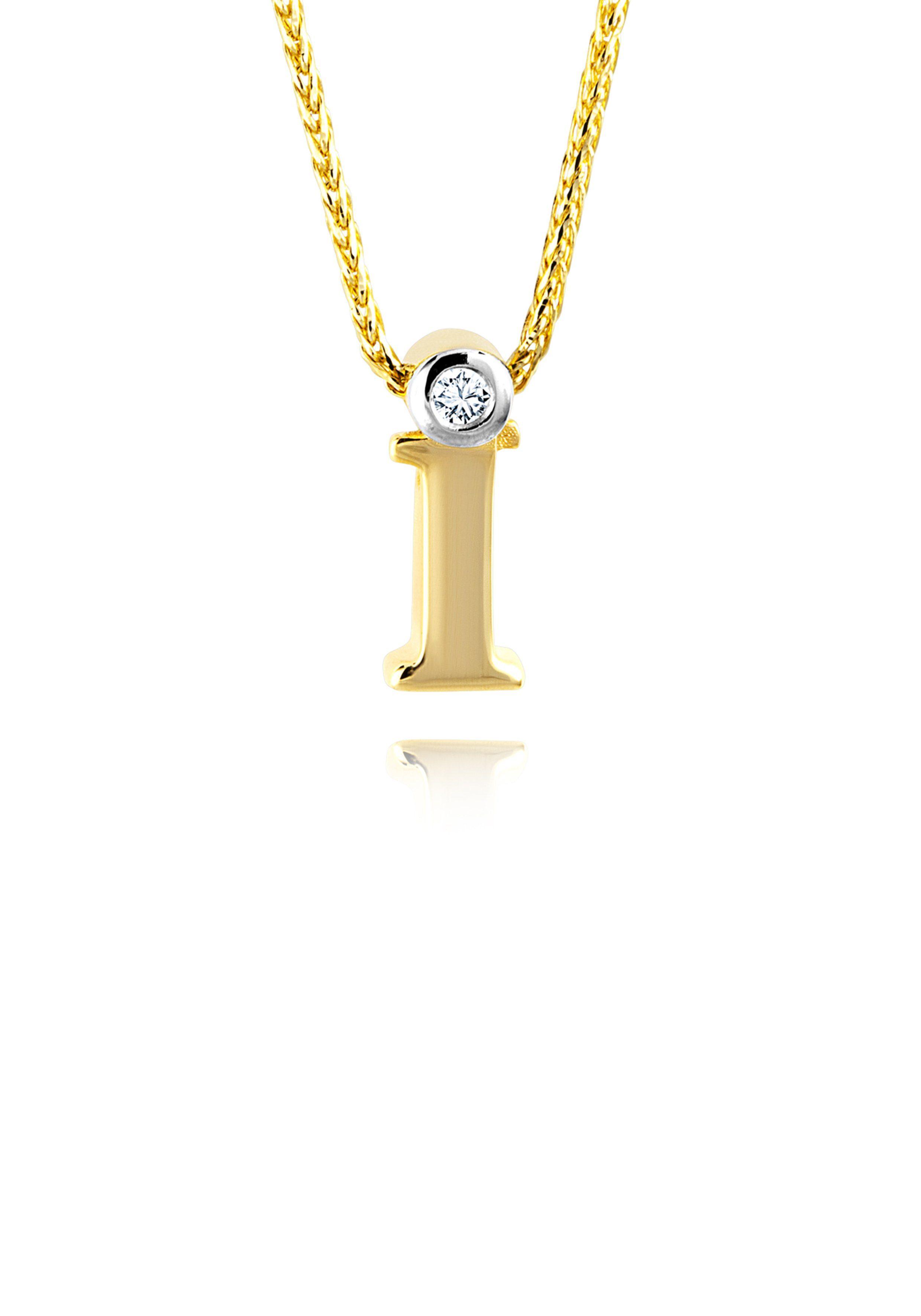 Diamond Line Goldkette mit Buchstabem I und Diamantbesatz