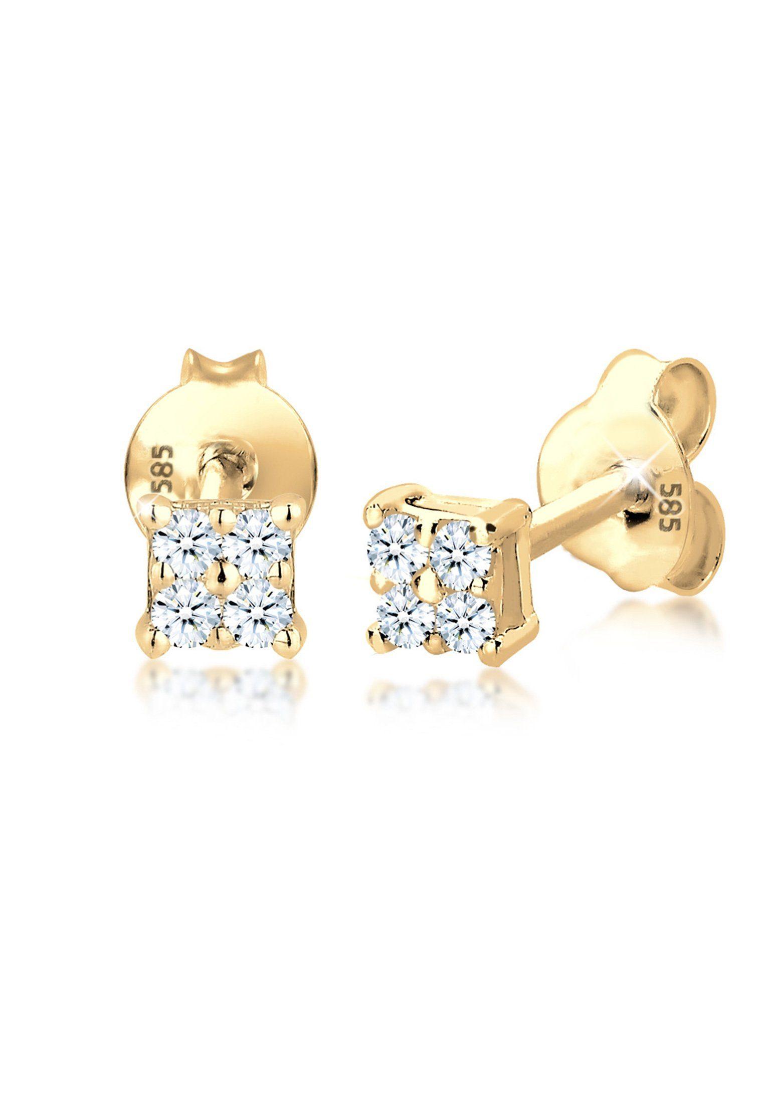 Diamore Paar Ohrstecker »Klassisch Elegant Geo Diamant (0.16 ct) 585 Gelbgold«