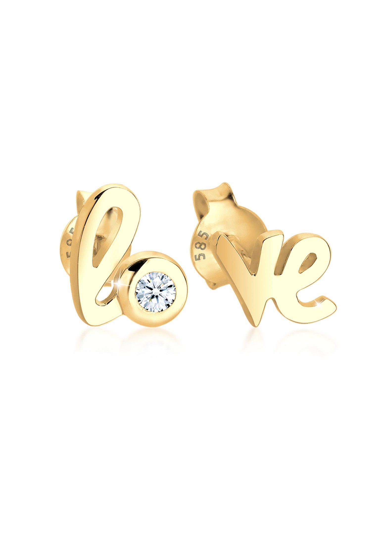 Diamore Paar Ohrstecker »Love Wordings Liebe Diamant 0.03 ct. 585 Gelbgold«