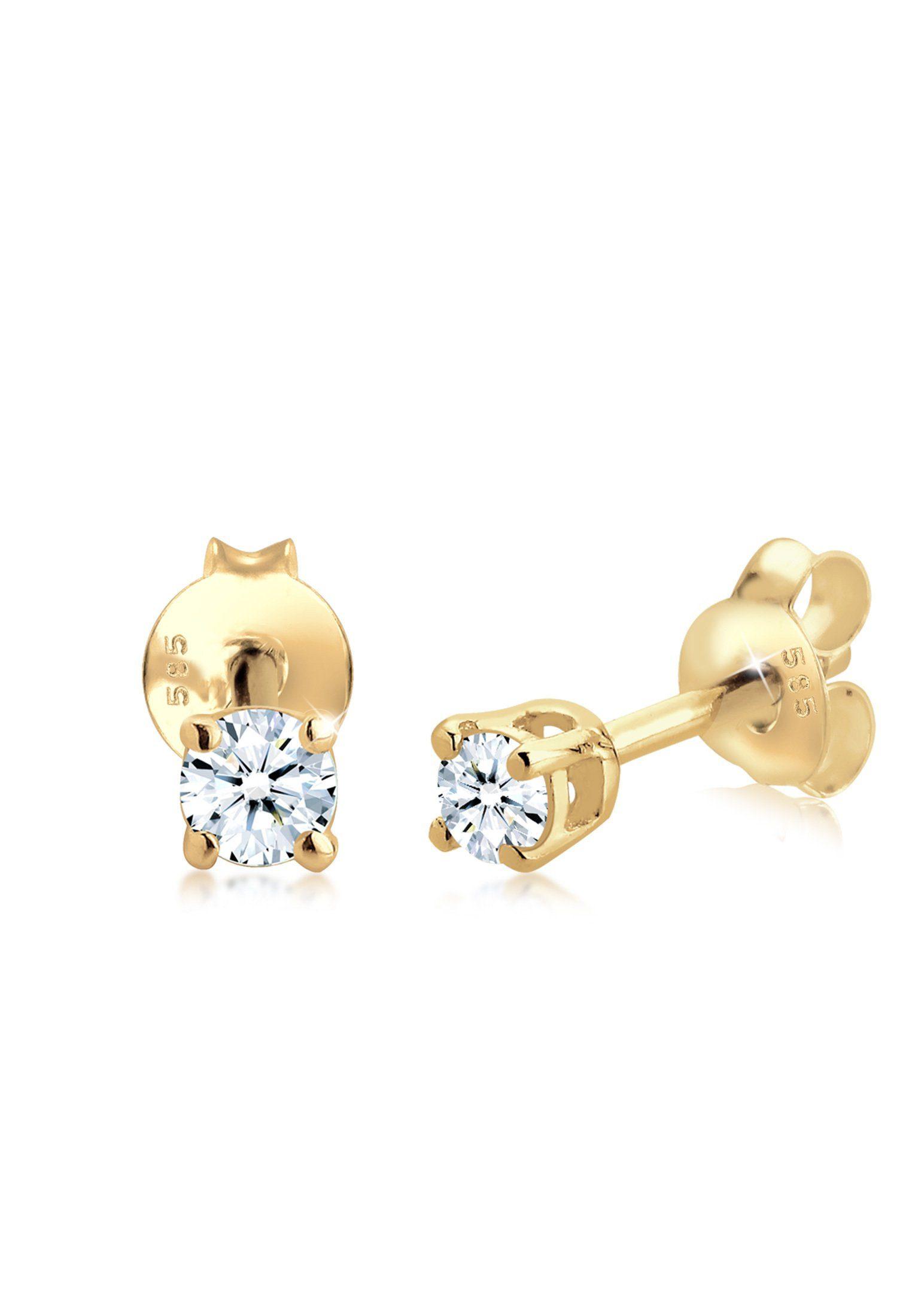 Diamore Paar Ohrstecker »Klassisch Solitär Diamant (0.20 ct) 585 Gelbgold«
