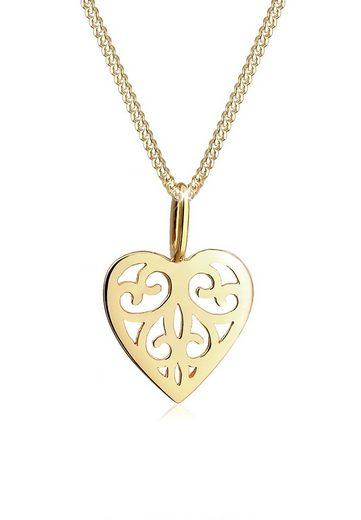 Elli Collierkettchen »Herz Ornament Romantisch 585 Gelbgold«