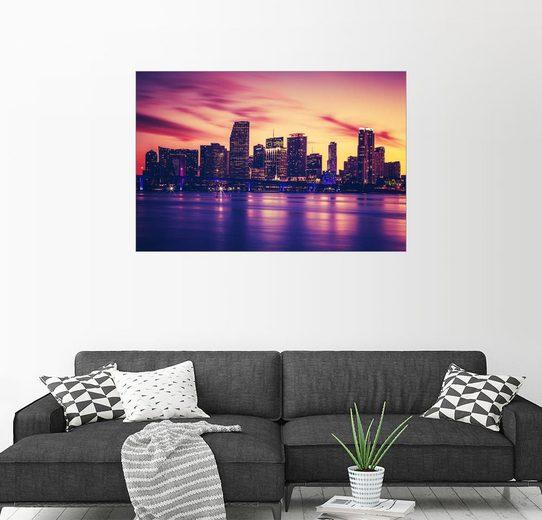 Posterlounge Wandbild »Miami bei Sonnenuntergang, USA«