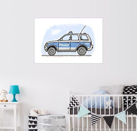Posterlounge Wandbild - Hugos Illustrations »Hugos Polizei Einsatzwagen«