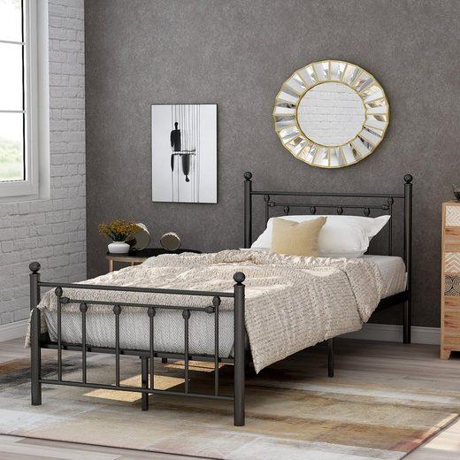 Masbekte Metallbett, Hochwertiger Metallbettrahmen mit Kopf- und Fußteil, Bett für Schlafzimmer der Kinder, Jugendliche und Erwachsene, 90x200cm