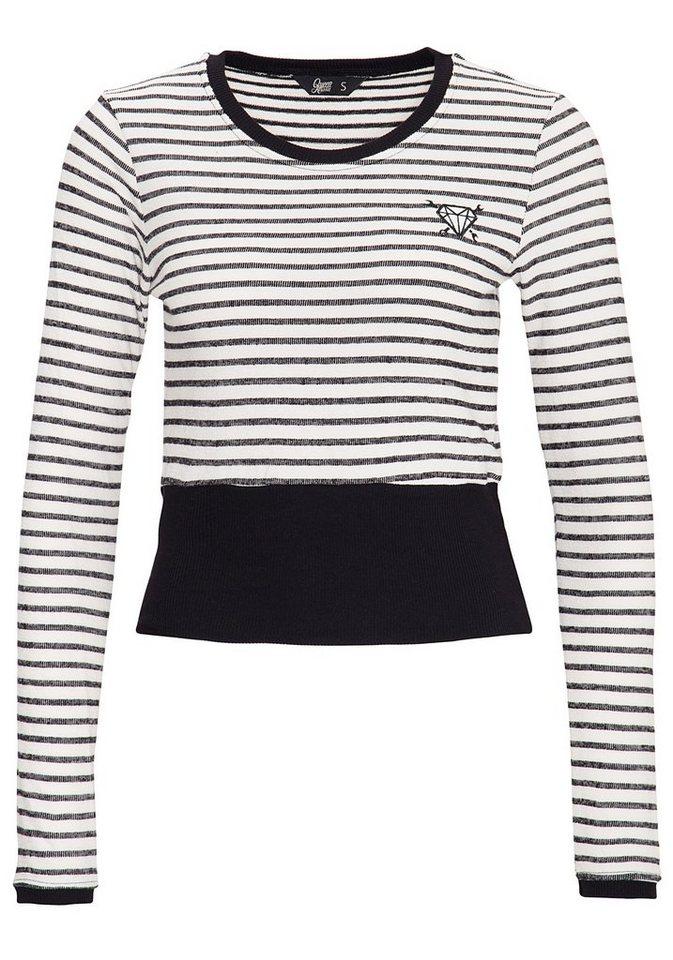 QueenKerosin Streifenpullover mit Rippbündchen | Bekleidung > Pullover > Streifenpullover | Blau | QueenKerosin